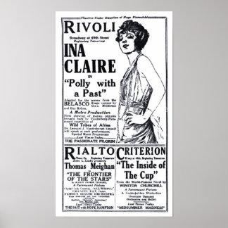 Poster 1921 do anúncio do filme do vintage de Ina