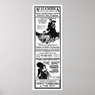 Poster 1921 dos anúncios do filme do vintage de Ha