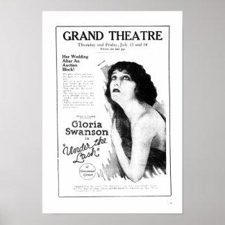 Poster 1922 do anúncio do filme do vintage de Glor