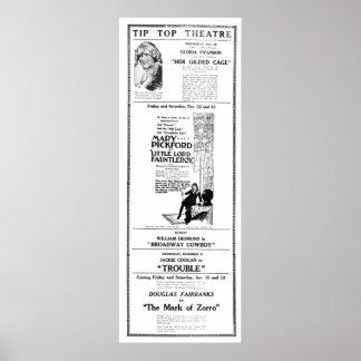 Poster 1922 do anúncio do filme do vintage de Mary