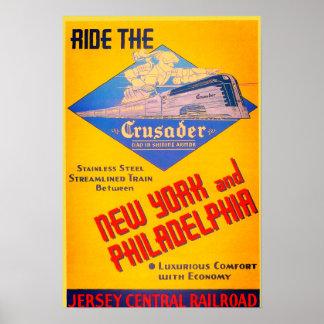Poster 1937 do trem do cruzado da estrada de ferro