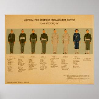 Poster 1942 de WPA do uniforme militar do vintage Pôster