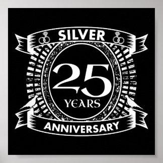 Poster 25a crista da prata do aniversário de casamento
