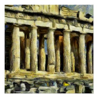 Póster A acrópole em Atenas