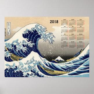 Póster A onda grande fora do calendário de Kanagawa 2018