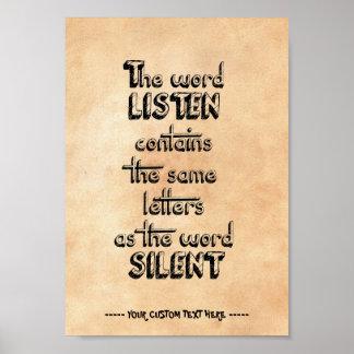 Poster A palavra ESCUTA contem as mesmas letras que