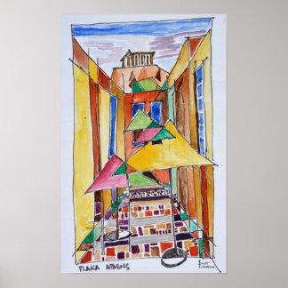 Póster Aguarela Plaka | Atenas do estilo do Cubist,