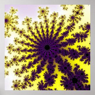 Poster amarelo da explosão do roxo