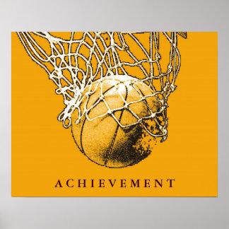 Poster amarelo do basquetebol do esporte da