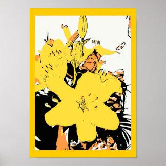 Poster amarelo dos desenhos animados do pop art do