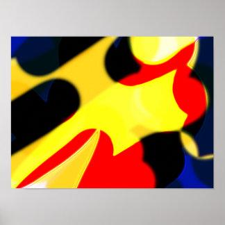 Poster amarelo e azul vermelho abstrato