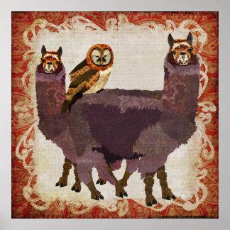 Poster ambarino da arte da coruja das alpacas roxa