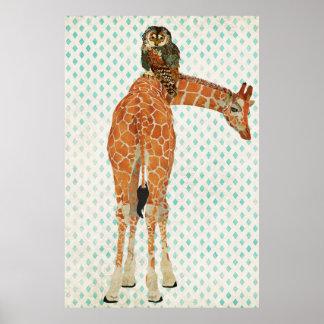 Poster ambarino da arte da coruja do girafa & da