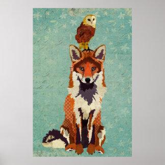 Poster ambarino da arte do Fox & da coruja