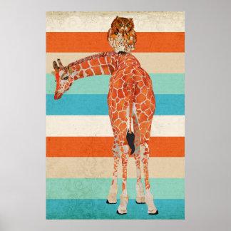 Poster ambarino da arte do girafa & da coruja