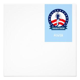 Poster americano do poder do corredor de maratona convite personalizados