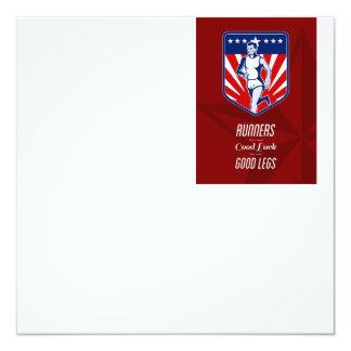 Poster americano dos pés do corredor de maratona convites personalizado