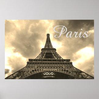 Póster Amor romântico de Paris da torre Eiffel do Sepia