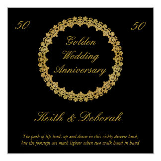 Póster Aniversário de casamento dourado customizável