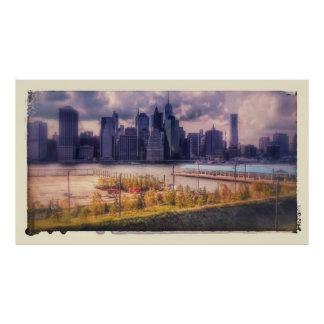Poster Antiqued da foto da skyline da cidade