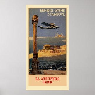 Póster Anúncio italiano Brindisi Istambul do viagem do