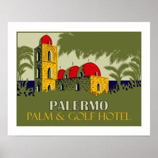Póster Anúncio retro do viagem do hotel de Palermo