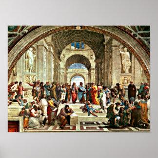 Póster Arte de Raphael - escola de Atenas -