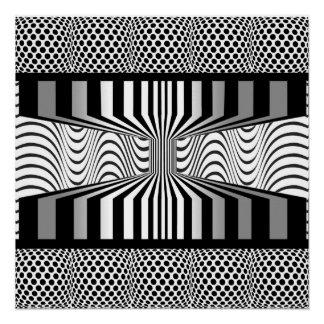 Póster Arte Op da parede do olho preto e branco
