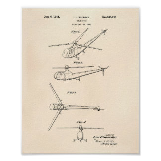 Poster Arte Peper velho da patente do helicóptero 1944
