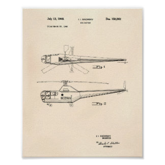 Póster Arte Peper velho da patente do helicóptero 1948
