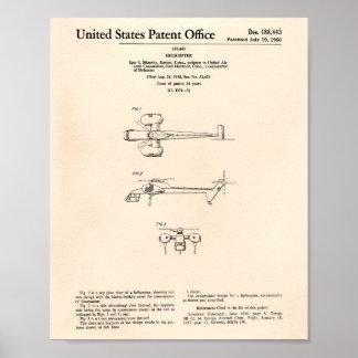 Póster Arte Peper velho da patente do helicóptero 1960