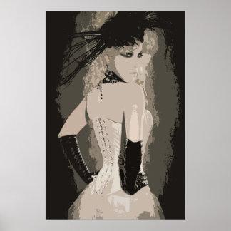 Poster Arte sensual do espartilho do vintage