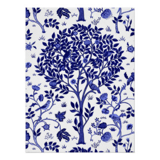 Poster Árvore de William Morris de vida, de azuis