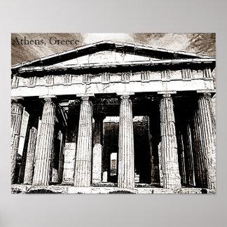 Poster Atenas, piscina - templo de Hephaestus