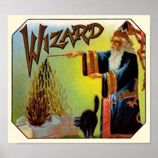 Póster Ato mágico da arte da etiqueta do charuto do