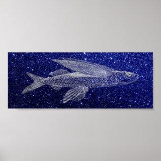 Poster Azuis marinhos da vida marinha do oceano dos