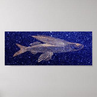 Póster Azuis marinhos da vida marinha do oceano dos