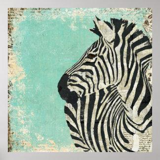 Poster azul da arte da zebra do vintage