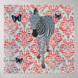 Poster azul da zebra de Boho & do damasco das