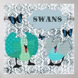 Poster azul do damasco do Grunge das cisnes & das