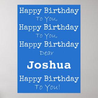 Poster azul do feliz aniversario pôster