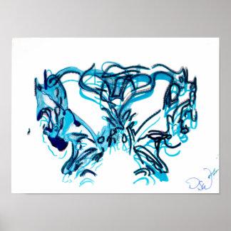 Póster Azul e cerceta modernos da arte abstracta