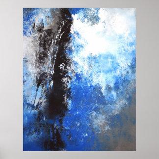 """Poster azul e cinzento """"juvenil"""" da arte abstracta"""