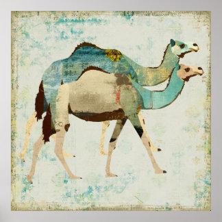 Poster azul sonhador da arte dos camelos