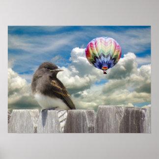 Poster - balão do pássaro e de ar quente