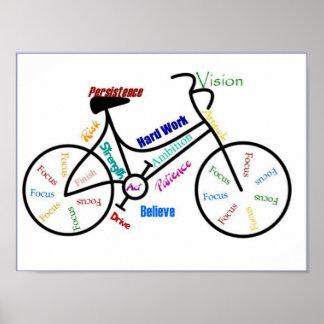 Póster Biking inspirador do esporte do ciclo da