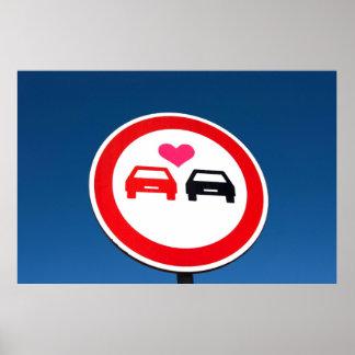 poster bonito do sinal de estrada, carros do amor