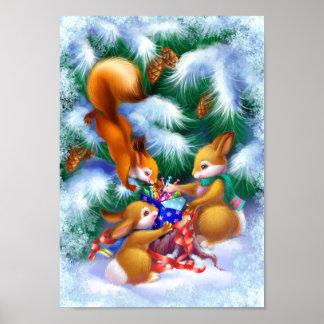 Poster bonito dos animais do Natal