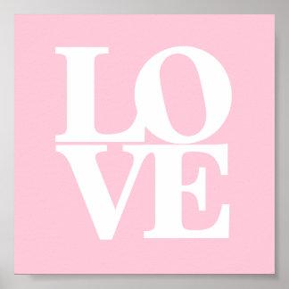 Poster branco cor-de-rosa do berçário do amor