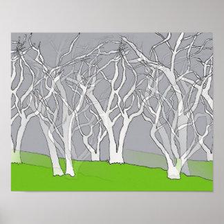 Poster branco impressionante da arte das árvores